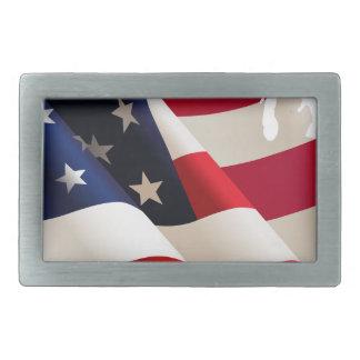 United States wave flag Rectangular Belt Buckles