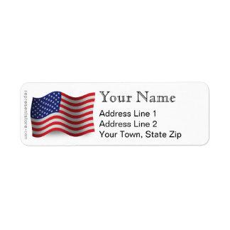 United States Waving Flag Return Address Label