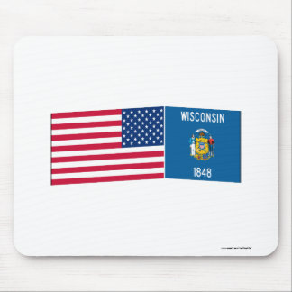 United States & Wisconsin Flags Mouse Mat