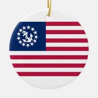 United States Yacht Flag Round Ceramic Ornament