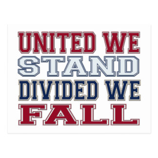 United We Stand, Divided We Fall T-Shirts and Gift Postcard