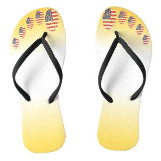 Unites States fingerprint flag Flip Flops