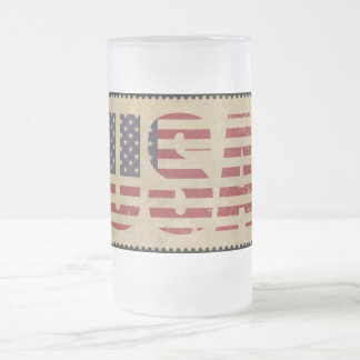 Unites States flag Frosted Glass Beer Mug