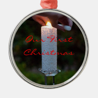 Unity Candle First Christmas Silver-Colored Round Ornament