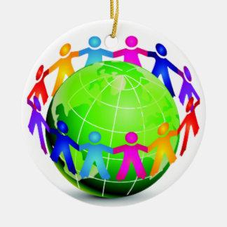 Unity - Children Around Globe - SRF Round Ceramic Ornament