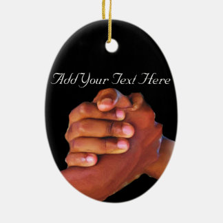 Unity & Love,Hand In Hand_ Ceramic Oval Ornament