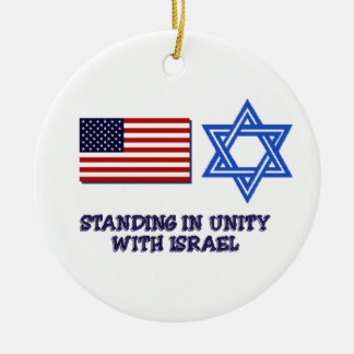 Unity with Israel Round Ceramic Ornament