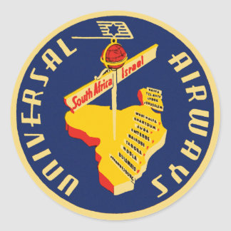 Universal Airways ~ South Africa to Israel Classic Round Sticker
