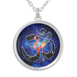 Universal OM Dhyana Silver Plated Necklace