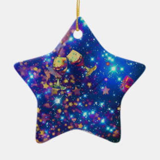 Universe and planets celebrate life with a tost.pn ceramic ornament