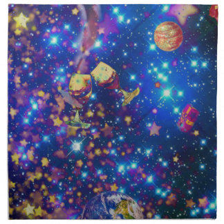 Universe and planets celebrate life with a tost.pn napkin