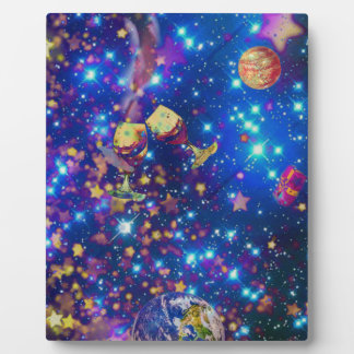 Universe and planets celebrate life with a tost.pn plaque