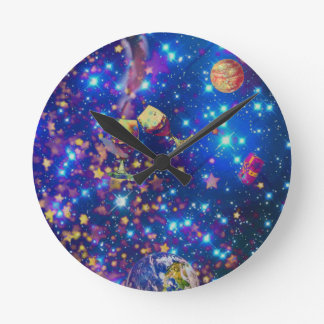 Universe and planets celebrate life with a tost.pn round clock