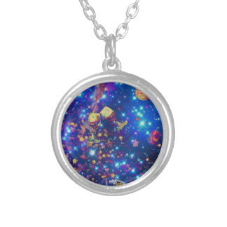 Universe and planets celebrate life with a tost.pn silver plated necklace