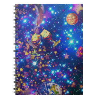 Universe and planets celebrate life with a tost.pn spiral notebook