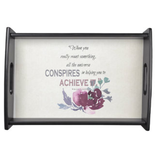 UNIVERSE CONSPIRES YOU TO ACHIEVE DEEP PINK FLORAL SERVING TRAY