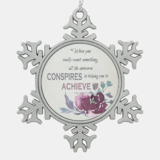 UNIVERSE CONSPIRES YOU TO ACHIEVE DEEP PINK FLORAL SNOWFLAKE PEWTER CHRISTMAS ORNAMENT