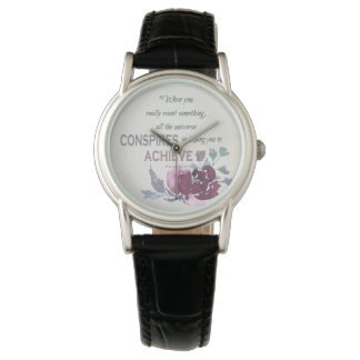 UNIVERSE CONSPIRES YOU TO ACHIEVE DEEP PINK FLORAL WATCH