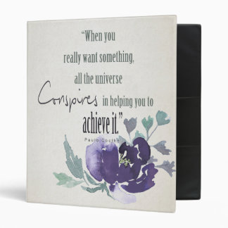 UNIVERSE CONSPIRES YOU TO ACHIEVE INK BLUE FLORAL 3 RING BINDERS