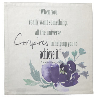 UNIVERSE CONSPIRES YOU TO ACHIEVE INK BLUE FLORAL CLOTH NAPKINS