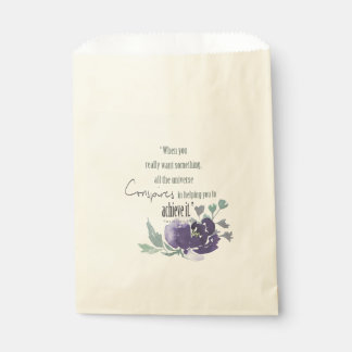 UNIVERSE CONSPIRES YOU TO ACHIEVE INK BLUE FLORAL FAVOUR BAG