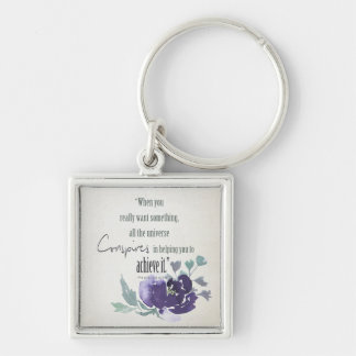 UNIVERSE CONSPIRES YOU TO ACHIEVE INK BLUE FLORAL KEYCHAIN