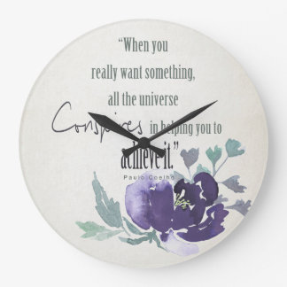 UNIVERSE CONSPIRES YOU TO ACHIEVE INK BLUE FLORAL LARGE CLOCK