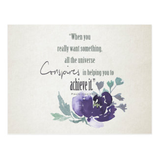 UNIVERSE CONSPIRES YOU TO ACHIEVE INK BLUE FLORAL POSTCARD