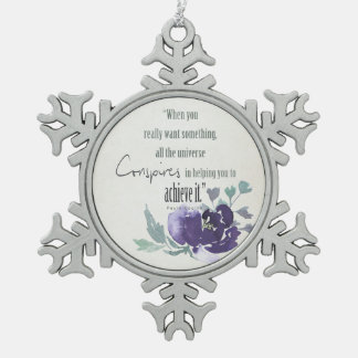 UNIVERSE CONSPIRES YOU TO ACHIEVE INK BLUE FLORAL SNOWFLAKE PEWTER CHRISTMAS ORNAMENT