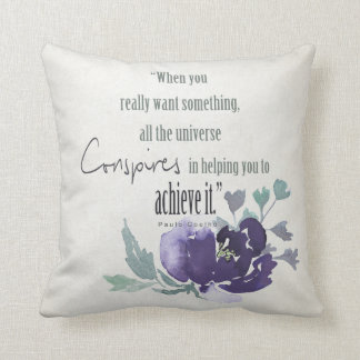 UNIVERSE CONSPIRES YOU TO ACHIEVE INK BLUE FLORAL THROW PILLOW