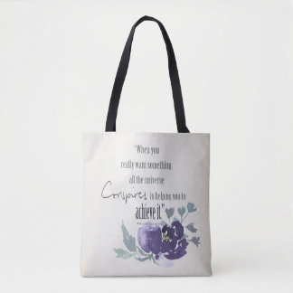 UNIVERSE CONSPIRES YOU TO ACHIEVE INK BLUE FLORAL TOTE BAG