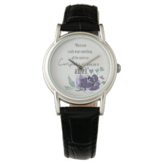 UNIVERSE CONSPIRES YOU TO ACHIEVE INK BLUE FLORAL WATCH