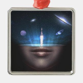 Universe in the Mind Silver-Colored Square Ornament