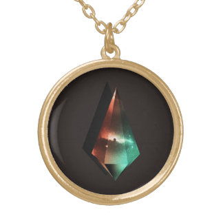 Universe inside prism gold plated necklace