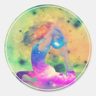 Universe King Pigeon Yoga Series Round Sticker