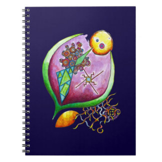 Universe of nut - green pop nature illustration spiral note book
