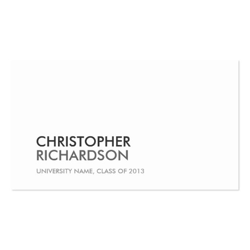 UNIVERSITY/COLLEGE STUDENT WHITE Business Card