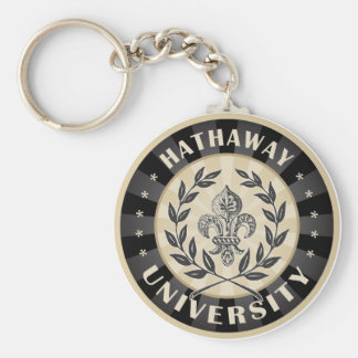 University Hathaway Black Basic Round Button Keychain