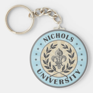 University Nichols Light Blue Basic Round Button Keychain