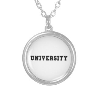 UNIVERSITY with Black Lettering Silver Plated Necklace