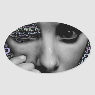 unknown face oval sticker