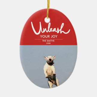 Unleash | Funny and Cute Dog Photo Ceramic Ornament
