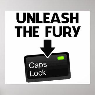 Unleash the Fury Caps Lock Poster