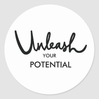 Unleash Your Potential | Modern Hand Lettered Classic Round Sticker