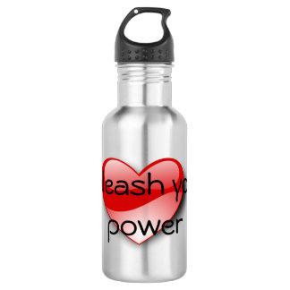 Unleash your power heart water bottle