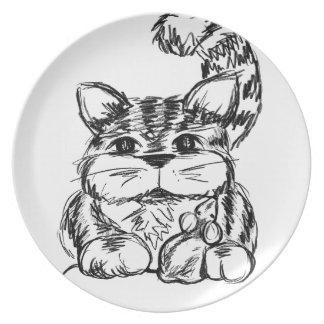 Unlikely Friends Cat and Mouse Plate