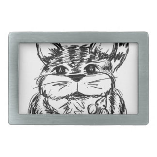 Unlikely Friends Cat and Mouse Rectangular Belt Buckles