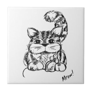 Unlikely Friends Cat and Mouse Tile
