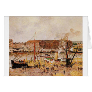 Unloading Wood at Rouen by Camille Pissarro Card