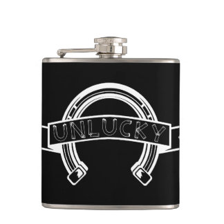 Unlucky Horseshoe Black and white Hip Flask